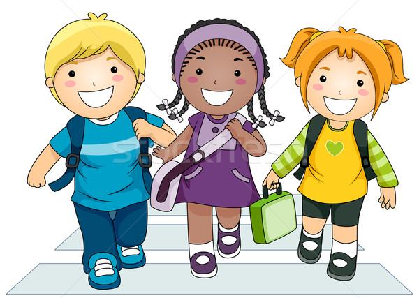 Crianças · escolas · ilustração · pequeno · grupo · rua ...