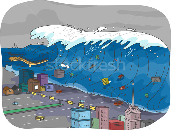 津波 実例 市 海 都市 波 ストックフォト © lenm