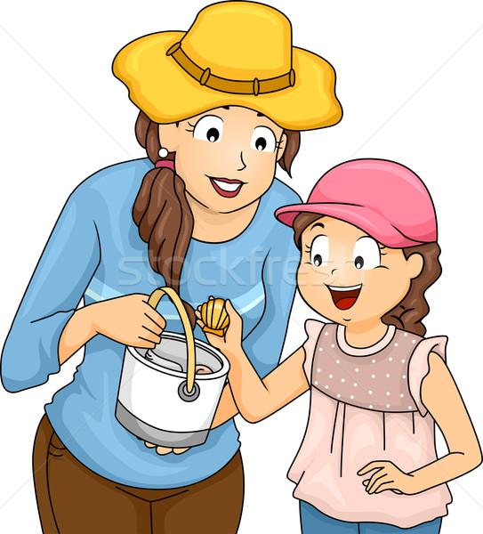 Mère fille obus illustration femme Photo stock © lenm