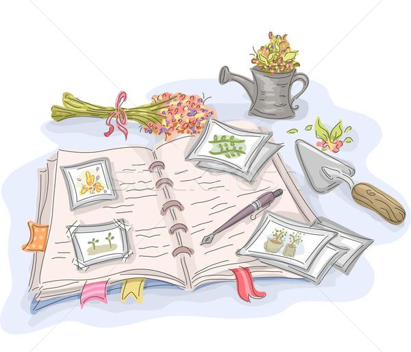 Ogród dziennika ilustracja zauważa ogrodnictwo dołączone Zdjęcia stock © lenm
