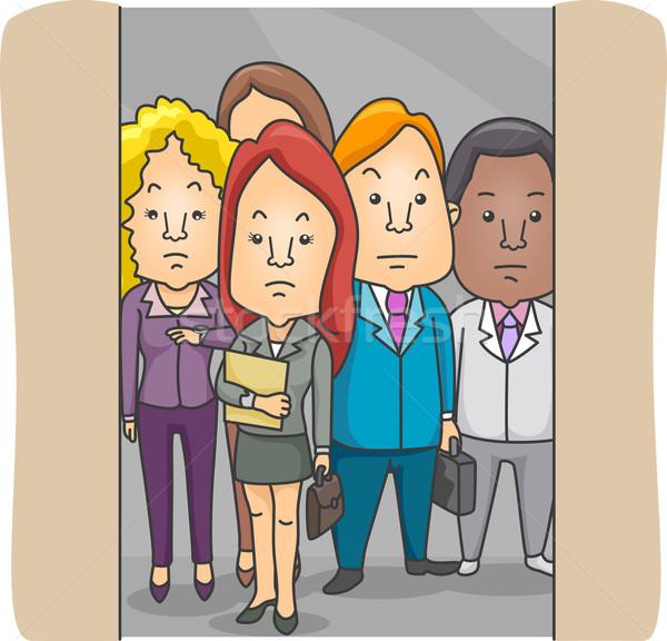 Mitarbeiter Illustration Aufzug Mann Gruppe weiblichen Stock foto © lenm