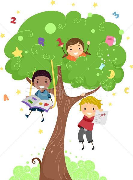 Stock foto: Kinder · Baum · Illustration · Kinder · spielen · Pfund · Schule