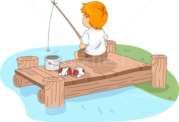 Camp Fishing Stock photo © lenm