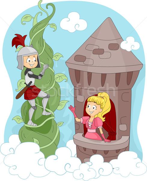Knight Rescuing Princess Stock photo © lenm