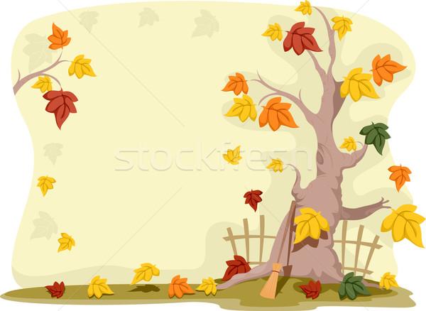 Stockfoto: Najaar · achtergrond · illustratie · ontwerp · hek · Geel