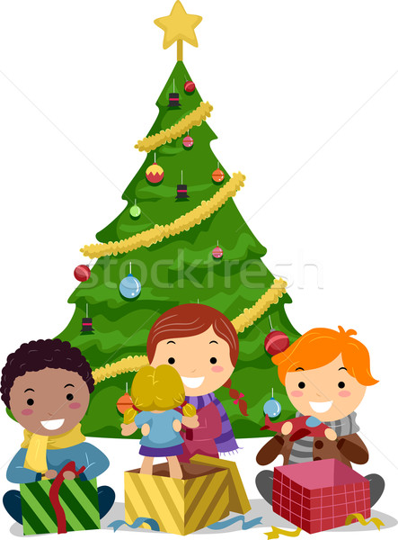 Stock photo: Kids Opening Gifts