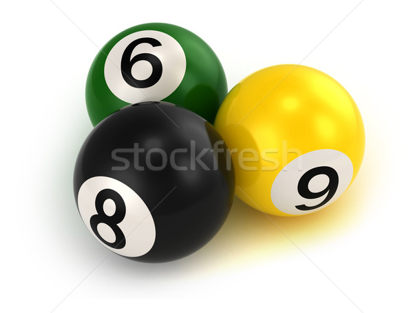 Biliárd golyók 3d illusztráció sport játék rajz Stock fotó © lenm