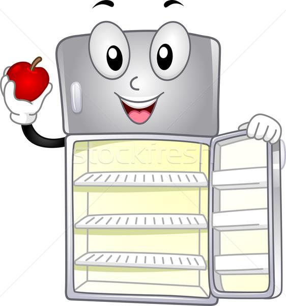 Geladeira mascote ilustração maçã armazenamento Foto stock © lenm
