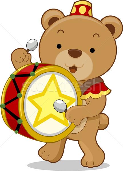 Circus beer trommelaar cartoon illustratie ontwerp Stockfoto © lenm