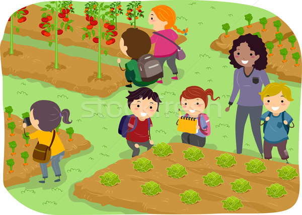 Kinderen school reis plantaardige tuin illustratie Stockfoto © lenm