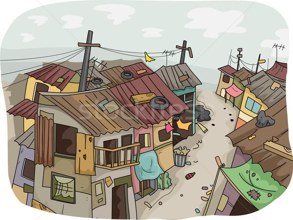 иллюстрация трущобы Cartoon сообщество бедные Сток-фото © lenm