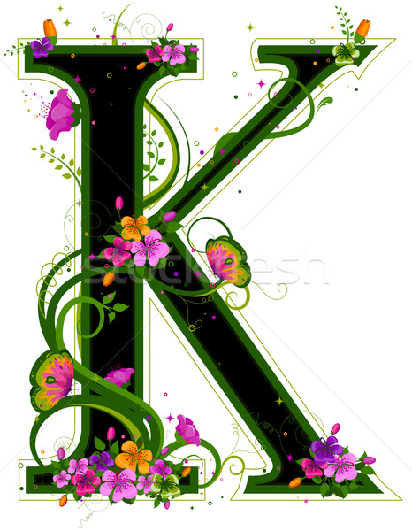 Alfabe çiçekler kelebek harfler Stok fotoğraf © lenm