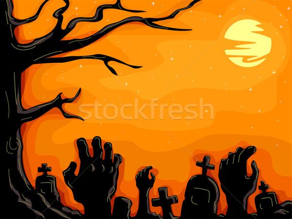Cmentarz halloween ilustracja ręce ziemi pełzający Zdjęcia stock © lenm
