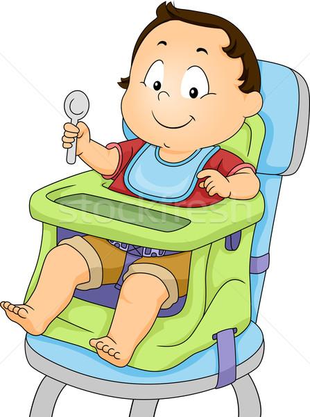 Baby jongen booster zitting illustratie kind Stockfoto © lenm