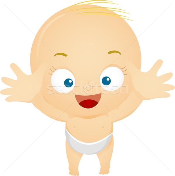 Stockfoto: Uit · illustratie · handen · baby · kind