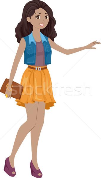 Girl Hailing Cab Stock photo © lenm