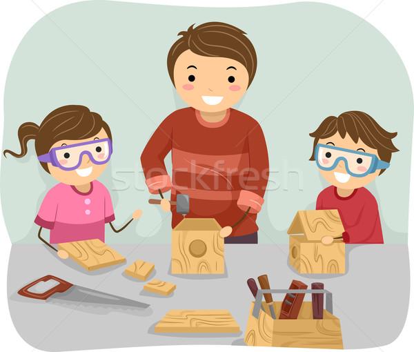 Stolarka rodziny ilustracja ojciec nauczania dzieci Zdjęcia stock © lenm