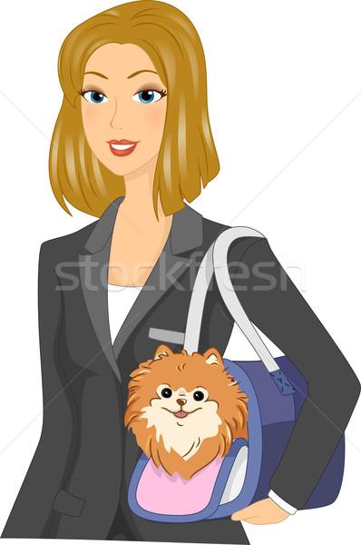 Girl Carrying Dog Stock photo © lenm