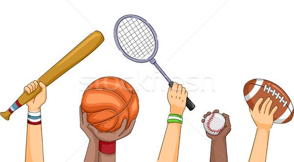 Sportok kezek illusztráció tart különböző sportfelszerelés Stock fotó © lenm