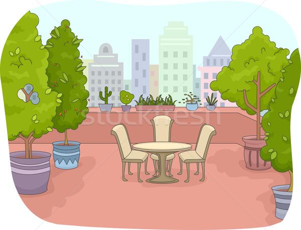 патио иллюстрация растений деревья Сток-фото © lenm