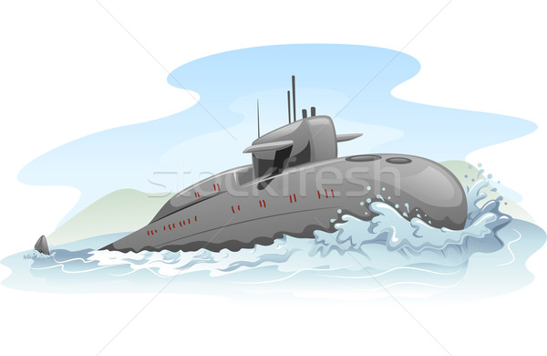 Sous-marin illustration partiellement militaire marines clipart Photo stock © lenm