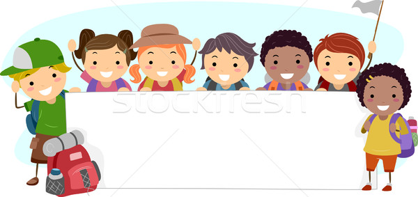 Camping banner illustratie kinderen kind Stockfoto © lenm