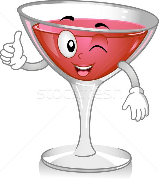 Kozmopolit kokteyl maskot örnek şarap içmek Stok fotoğraf © lenm