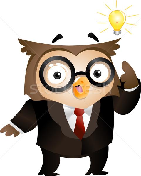 フラッシュ 天才 実例 フクロウ 電球 ホバリング ストックフォト © lenm