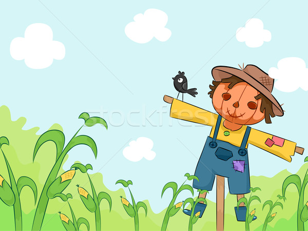 Stock photo: Scarecrow in Corn Farm