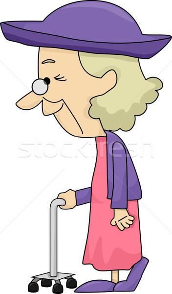 Old Lady with Walking Stick Stock photo © lenm