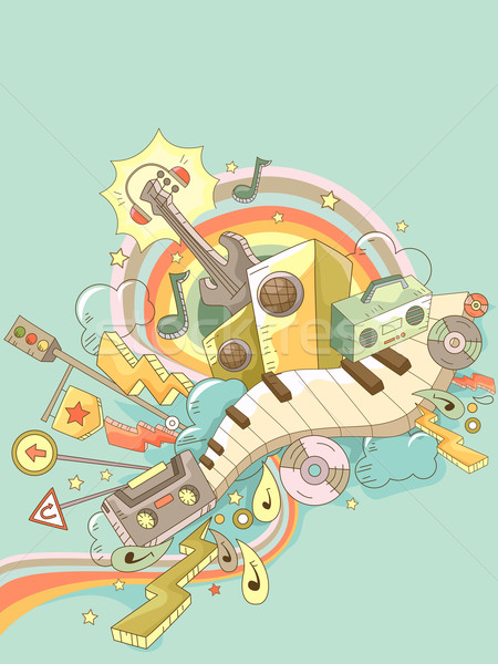 Music Elements Doodle Background 2 Stock photo © lenm