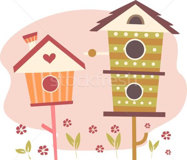 Cute Bird Houses Stock photo © lenm
