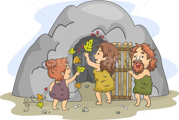 Höhlenmensch Familie Kunst Illustration Höhle Mann Stock foto © lenm