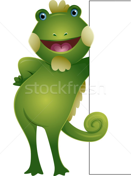 Leguaan boord illustratie glimlachend groene Stockfoto © lenm