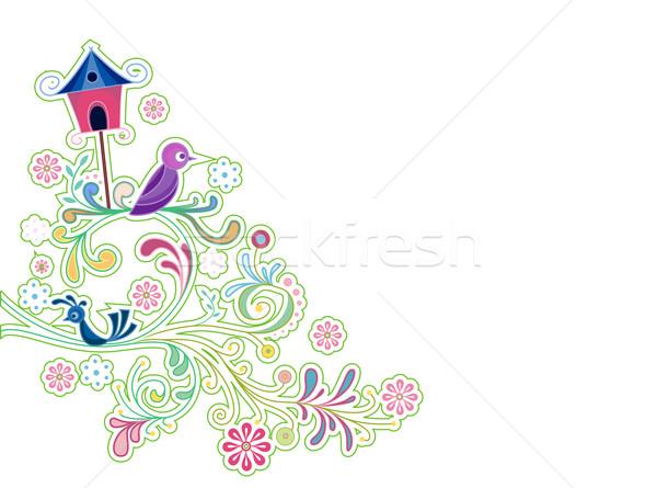Abstract wijnstokken vogels ontwerp kunst Stockfoto © lenm