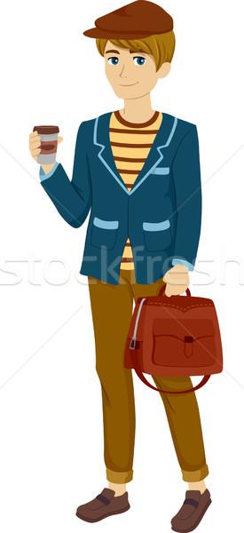 мужчины парижский подростков иллюстрация мальчика Сток-фото © lenm