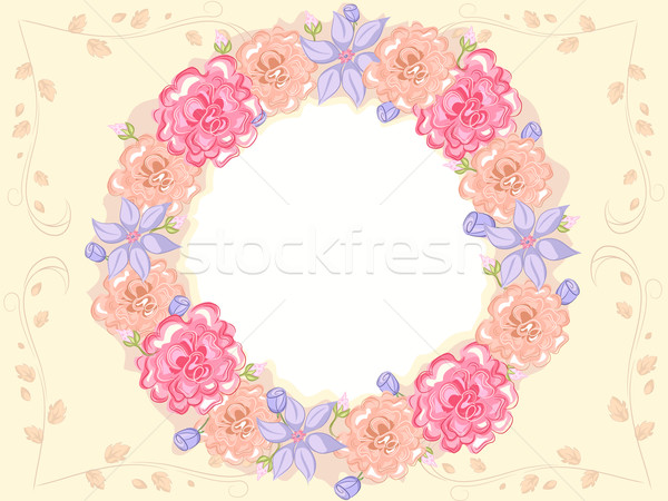 Minable floral cadre design rose Photo stock © lenm