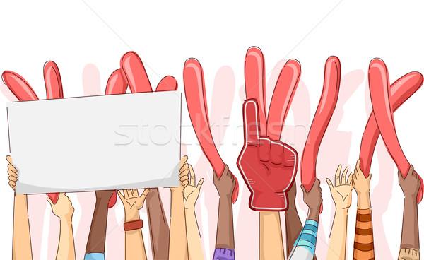 Handen omhoog illustratie groep partij leuk boord Stockfoto © lenm