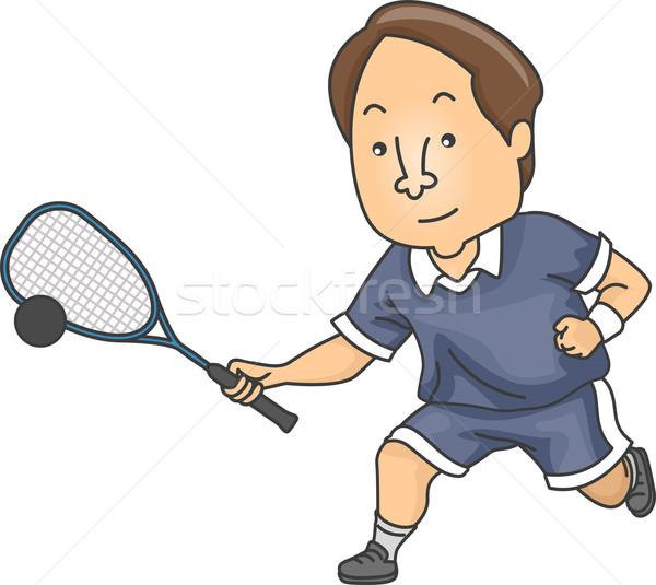 Squash homme illustration joueur jouer jeu Photo stock © lenm