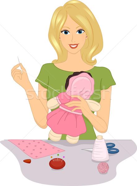 тряпичная кукла иллюстрация женщину цифровой кукла Сток-фото © lenm