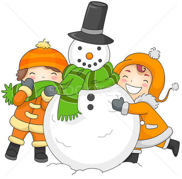 Kids Playing with a Snowman Stock photo © lenm