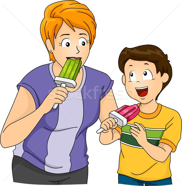 Illusztráció anya fiú eszik nő család Stock fotó © lenm
