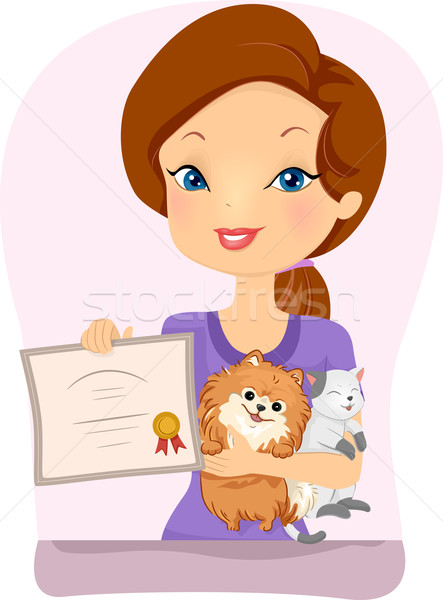Ragazza pet registrazione certificato illustrazione donna Foto d'archivio © lenm