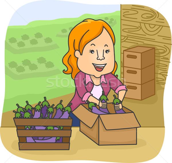 Photo stock: Fille · aubergine · boîte · illustration · femme · numérique