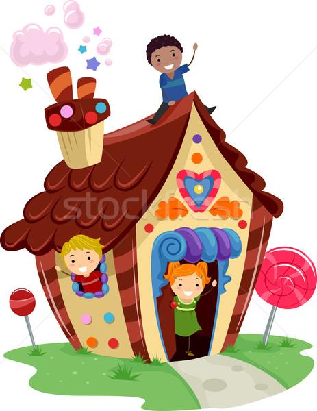 Stickman Kids Candy House Stock photo © lenm