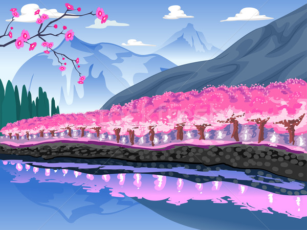 Cherry Blossom Mountain Scene Stock photo © lenm