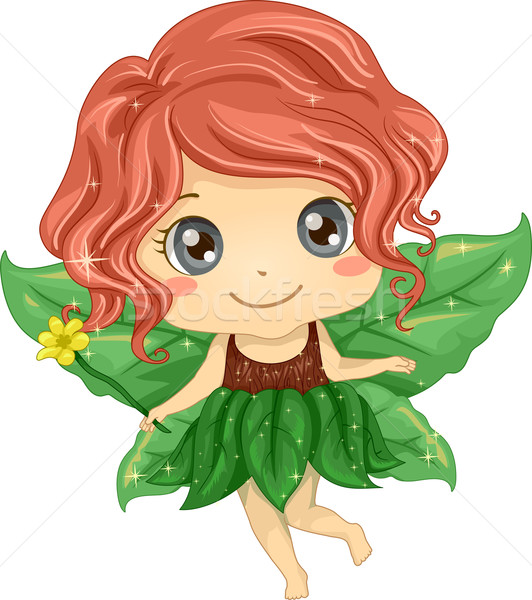 Stockfoto: Kid · meisje · natuur · fairy · illustratie · cute