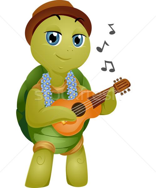 Mascotte tartaruga illustrazione giocare musica arte Foto d'archivio © lenm