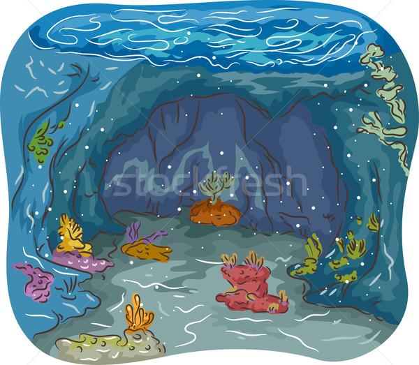 подводного пещере красочный иллюстрация морем океана Сток-фото © lenm
