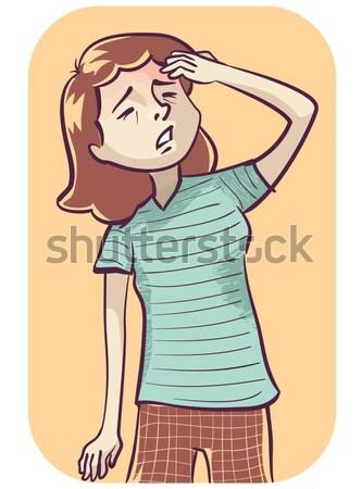 Kus wang illustratie pinup meisje vent Stockfoto © lenm